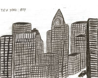 City new york hand drawn by kid,  illustration Stock Photography