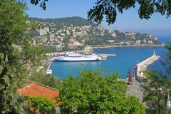 City of Nice. Bird view summer panorama of Nice, France stock images