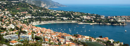 City of Nice - Aerial view of Villefranche-sur-Mer Stock Photo
