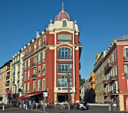 City of Nice - Architecture of buildings on the Place Massena Stock Photography