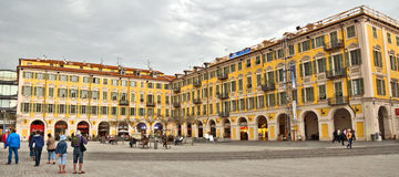 City of Nice - Architecture of Place Garibaldi in Vieille Ville Stock Photography