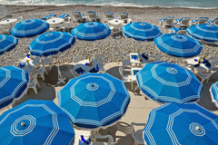 City of Nice - Beach with umbrellas Royalty Free Stock Photo