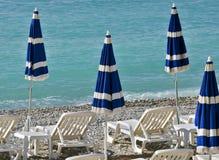 City of Nice - Beach with umbrellas Royalty Free Stock Image