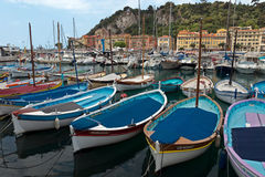 City of Nice - Colorful boats Royalty Free Stock Photography