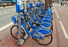 City of Nice, France - Public Bicycles Sharing Station Stock Image