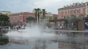 City of Nice - Lovely fountain stock video footage