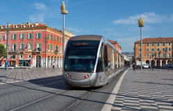City of Nice - Modern tram on the Place Massena Royalty Free Stock Image