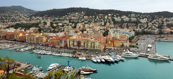 City of Nice - Panoramic view of Port de Nice Stock Image