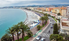 City of Nice - Promenade des Anglais from above. NICE, FRANCE - MAY 5: Promenade des Anglais from above on May 5, 2013 in Nice, France. It is a symbol of the stock photos