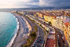 City of Nice Promenade des Anglais waterfront aerial view. French riviera, Alpes Maris department of France stock image