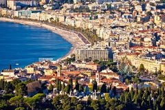 City of Nice and Promenade des Anglais waterfront aerial view. French riviera, Alpes Maris department of France royalty free stock image