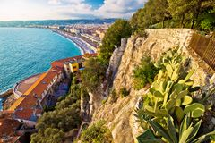 City of Nice Promenade des Anglais waterfront aerial view. French riviera, Alpes Maritimes department of France royalty free stock images