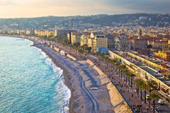 City of Nice Promenade des Anglais waterfront and beach view. French riviera, Alpes Maritimes department of France royalty free stock photos