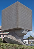 City of Nice - Square Head. NICE, FRANCE - JUNE 4, 2014: Square Head - building cube shaped as human head sculpture. Authors are sculptor Sacha Sosno and Royalty Free Stock Image