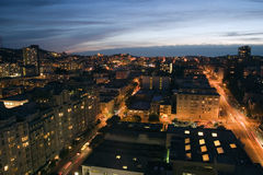 City at night. Traffic and window lights at twilight in San Francisco Royalty Free Stock Photo