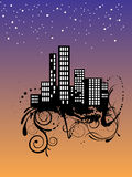 City at night. Vector illustration of a city by night Stock Photos