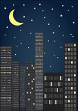 City by night. A  illustration of  panorama of city at night with moon and stars Royalty Free Stock Image