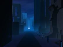City at night. Dark city at night illustration Royalty Free Stock Image