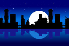 City and night. Night over the city with moon and stars Royalty Free Stock Photo