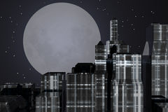 City night. With full moon Stock Illustration