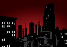 City in night. Cityscape with the Reddish Skyline showing many types of buildings Tall towers to small building Royalty Free Stock Photography