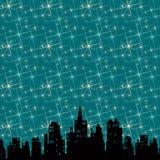 City night. Modern city under bright starlight Stock Image