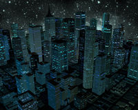 City At Night. A 3D rendering of a city at night with colorful tones Stock Images