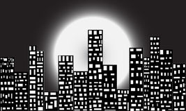 City at night. Beauty of a city at night. a city totally influenced by electric light under big moon Vector Illustration