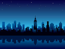 City night. Vector illustration with panorama of modern city at night Royalty Free Stock Photos