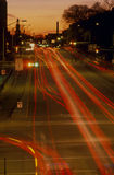 City At Night. With Blurred Car Lights Stock Photo