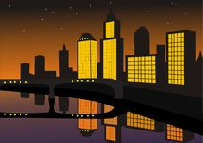 City night. Vector illustration of the modern city beside yard at night Royalty Free Stock Images