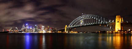 City at night. (Sydney, Australia) with Opera and Harbour bridge Stock Images