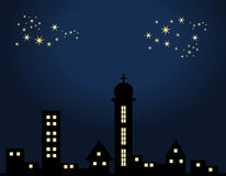 City at night. Houses, skyscraper, church building under a starlit sky vector illustration
