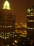 City Night. Night above Skyscrapers, Des Moines downtown, Iowa, USA Royalty Free Stock Photo