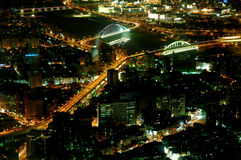 City at night. View from top floor of Taipei 100 looking down on Taipei city in Taiwan royalty free stock images