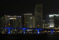 City Night. Skyline at night with blue illuminated bridge on front stock photography