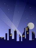 City By Night. Illustration of a silhouetted city by night stock illustration