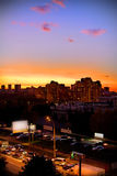 City night. City is going to sleep, beautiful sunset in the town Stock Photography