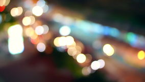 City night background at  blur busy street road food stall view of Bangkok, Thailande glass wall stock footage