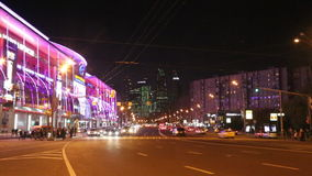 City at night background with cars. Night traffic. Moscow, Russia stock footage