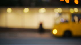 City at night background with cars. Out of focus. Background with blurry unfocused city lights stock video