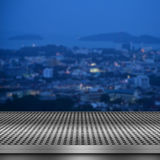 City night background with empty metal deck Royalty Free Stock Images