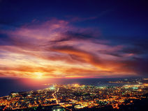 City with a night on the beach. Sicily. Italy. Europe Stock Photo