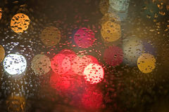City Night bokeh. Car windshield Royalty Free Stock Photos