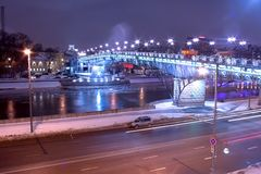 Moscow night bridge traffic Stock Photo