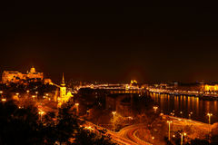 The city at night in Budapest Royalty Free Stock Images