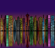 City at night. Buildings silhouette. Stock Photo