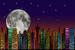City at night. Buildings silhouette. Stock Images