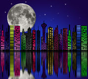 City at night. Buildings silhouette. Stock Image