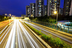 City in night busy traffic Royalty Free Stock Image